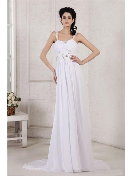 Sheath/Column Spaghetti Strap Pleats Ruched Applique Chiffon Wedding Dress
