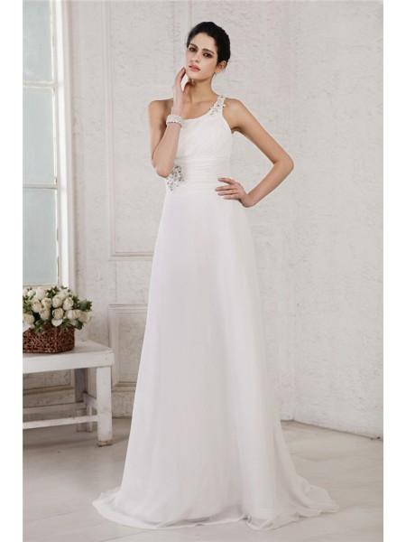 A-Line/Princess One-Shoulder Applique Chiffon Wedding Dress
