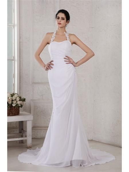 Trumpet/Mermaid Halter Applique Chiffon Wedding Dress