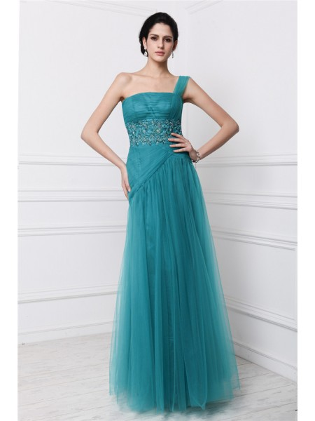 Sheath/Column One-Shoulder Applique Long Net Dress