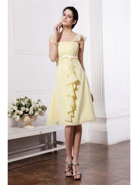 A-Line/Princess Straps Ruffles Ruched Short Chiffon Bridesmaid Dress