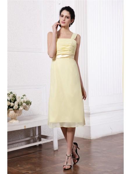 Sheath/Column Straps Sash Pleats Short Chiffon Bridesmaid Dress