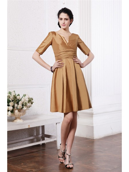 Sheath/Column V-neck Half Sleeves Pleats Taffeta Bridesmaid Dress