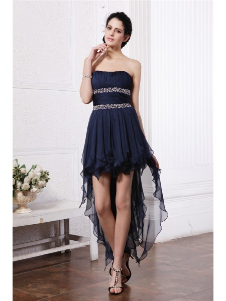 Sheath/Column Strapless High Low Chiffon Cocktail Dress