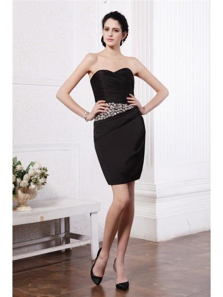 Sheath/Column Sweetheart Pleats Short Chiffon Damask Cocktail Dress