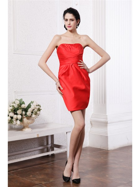 Sheath/Column Strapless Pleats Short Elastic Woven Satin Bridesmaid Dress