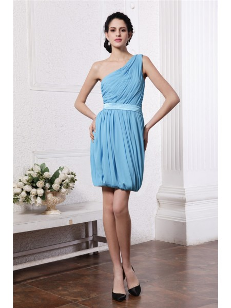 Sheath/Column One-Shoulder Pleats Short Chiffon Cocktail Dress