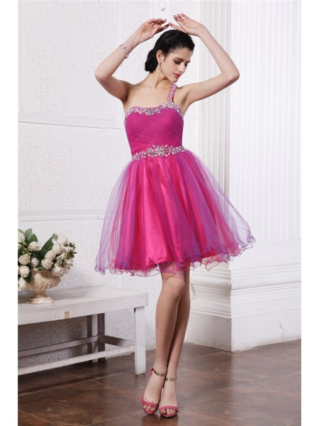 A-Line/Princess One-Shoulder Organza Cocktail Dress
