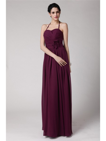 Sheath/Column Halter Chiffon Bridesmaid Dress