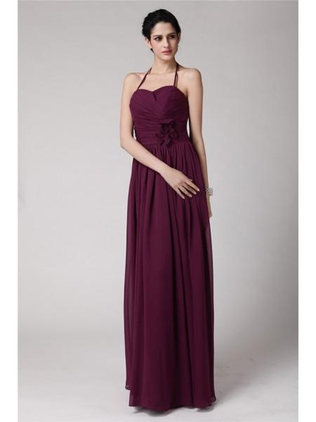 Sheath/Column Halter Chiffon Bridesmaid Dress