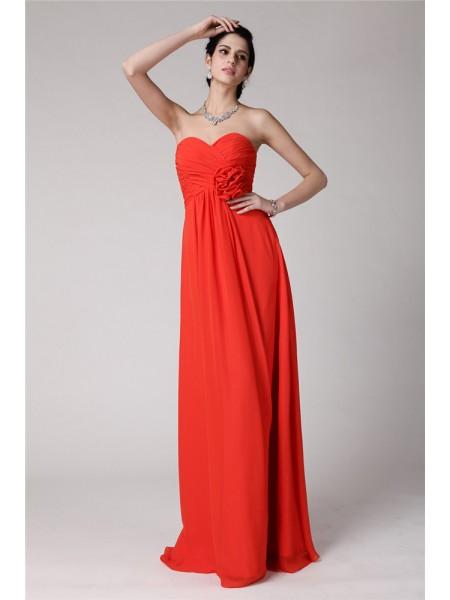 Sheath/Column Sweetheart Pleats Chiffon Bridesmaid Dress