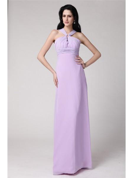 Sheath/Column High Neck Pleats Chiffon Bridesmaid Dress