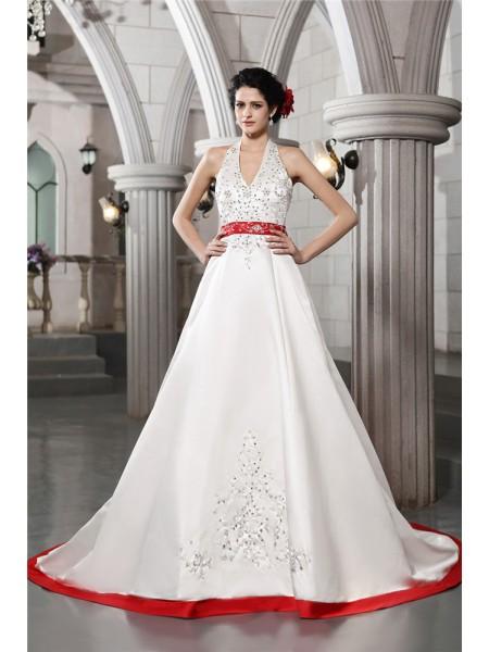 A-Line/Princess V-neck Embroidery Long Satin Wedding Dress