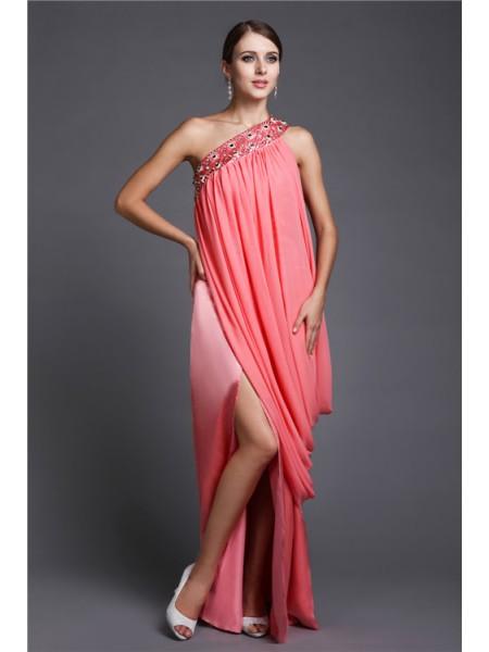 Sheath/Column One-Shoulder Chiffon Dress