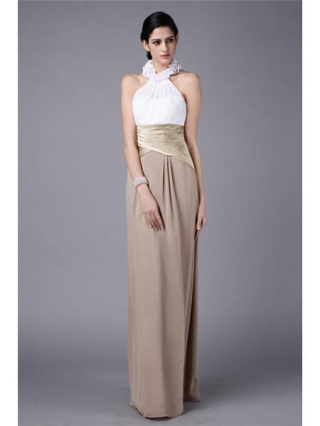 Sheath/Column High Neck Pleats Ruffles Long Elastic Woven Satin Chiffon Bridesmaid Dress