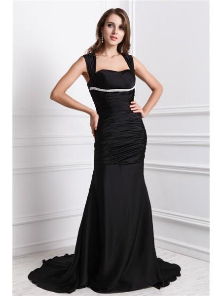 Trumpet/Mermaid Straps Long Charmeuse Dress