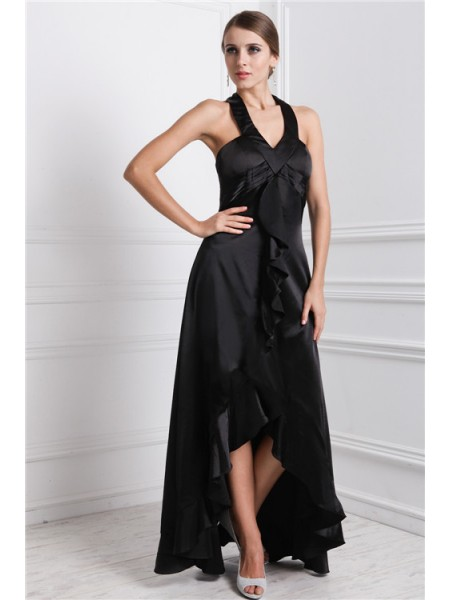 A-Line/Princess Bateau Ruffles High Low Silk like Satin Dress