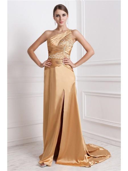 A-Line/Princess One-Shoulder Long Elastic Woven Satin Dress