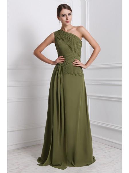 A-Line/Princess One-Shoulder Ruffles Chiffon Dress