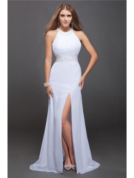 Sheath/Column Jewel Ruffles Chiffon Dress