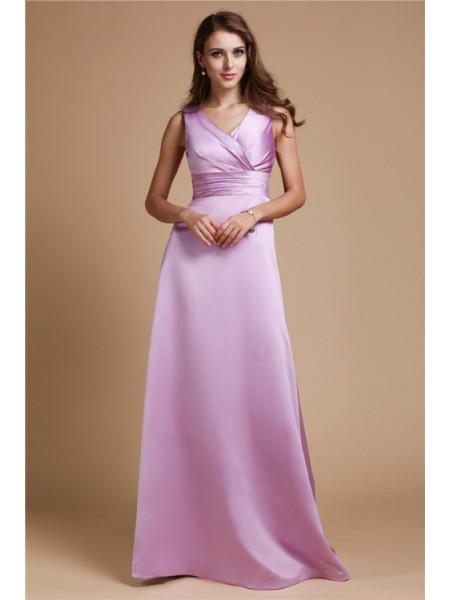 A-Line/Princess V-neck Long Elastic Woven Satin Bridesmaid Dress