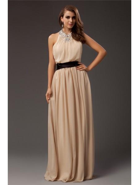Sheath/Column Jewel Chiffon Dress
