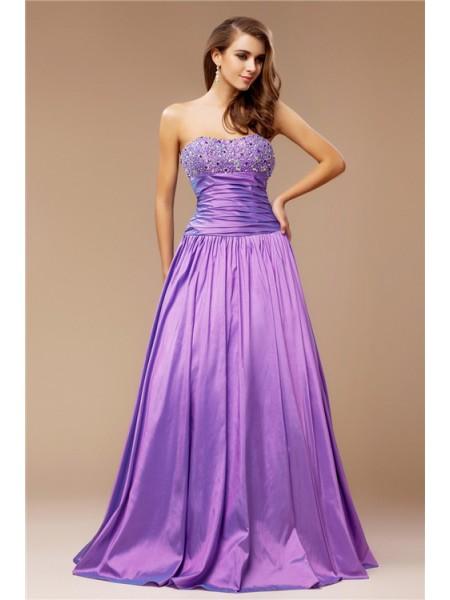 A-Line/Princess Strapless Long Taffeta Dress