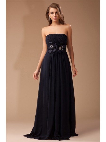 Sheath/Column Strapless Ruffles Long Chiffon Elastic Woven Satin Dress