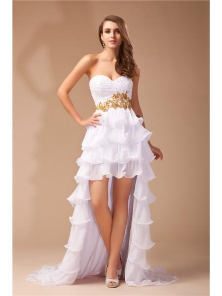 A-Line/Princess Sweetheart High Low Chiffon Dress