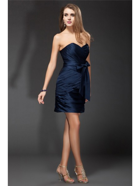 Sheath/Column Sweetheart Ruffles Short Satin Bridesmaid Dress