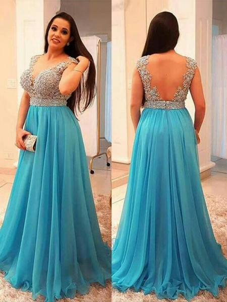 A-Line/Princess V-neck Beading Sleeveless Floor-Length Chiffon Plus Size Dresses