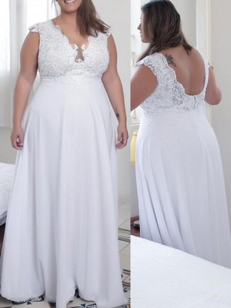 A-Line/Princess V-neck Applique Floor-Length Chiffon Plus Size Dress