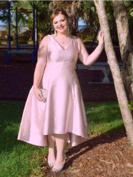A-Line/Princess V-neck Ruched Asymmetrical Satin Plus Size Dress