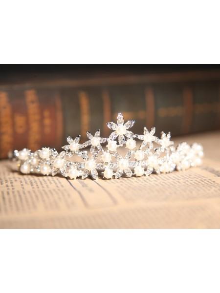 Fashion Alloy Clear Crystals Pearl Wedding Headpieces