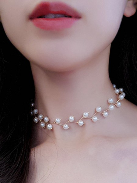 Trending Alloy With Pearl Chokers For Ladies