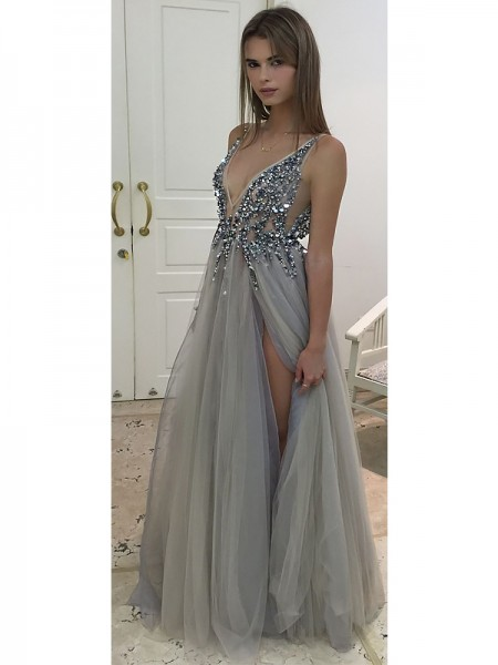 A-Line/Princess V-Neck Floor-Length Beading Tulle Dress