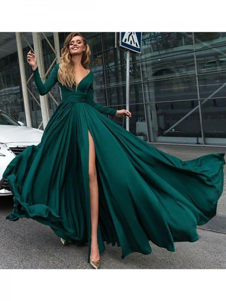 A-Line/Princess V-Neck Long Sleeves Sweep/Brush Train Ruffles Satin Dresses