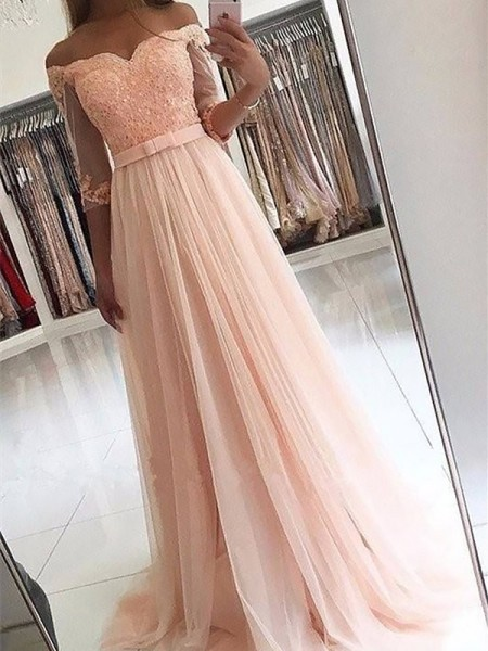 A-Line/Princess 3/4 Sleeves Off-the-Shoulder Tulle Sweep/Brush Train Dresses