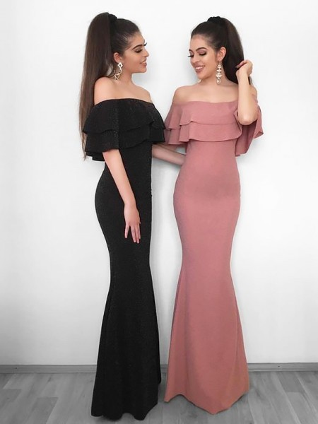 Sheath/Column Off-the-Shoulder Floor-Length Ruffles Chiffon Dress