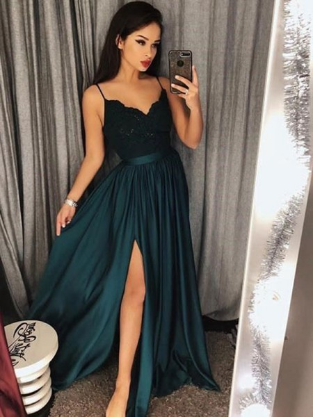 A-Line Spaghetti Straps Floor-Length With Satin Dress with Lace