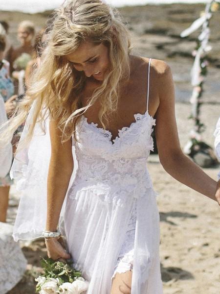 A-Line/Princess V-neck Sleeveless Applique Floor-Length Chiffon Wedding Dress
