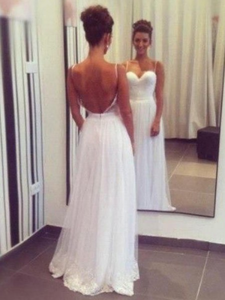A-Line/Princess Floor-Length Sleeveless Ruffles Tulle Wedding Dress