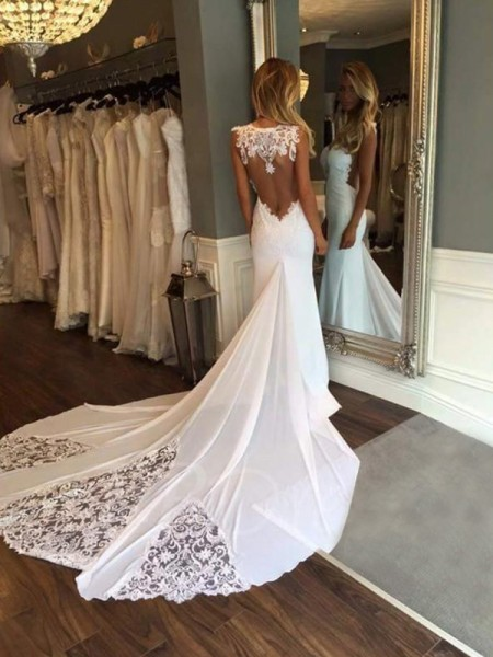 Trumpet/Mermaid Sleeveless Applique Cathedral Train Lace Wedding Dress