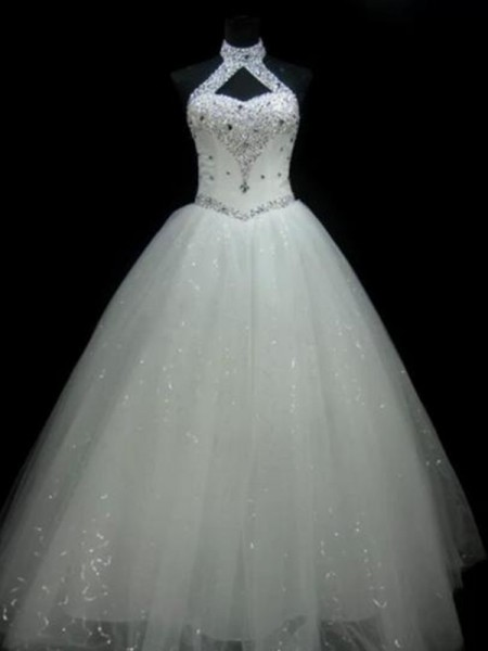 Ball Gown Halter Sleeveless Floor-Length Beading Sequin Tulle Wedding Dress