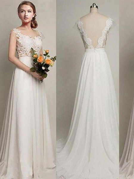 A-Line/Princess Sleeveless Scoop Lace Chiffon Wedding Dress