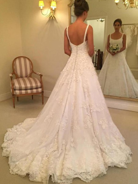 A-Line/Princess Sleeveless Straps Square Court Train Applique Lace Wedding Dress
