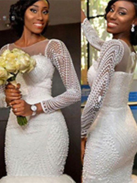 Trumpet/Mermaid Long Sleeves Scoop Beading Tulle Wedding Dress