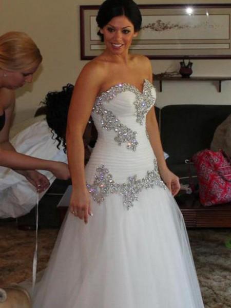 A-Line/Princess Sweetheart Tulle Sleeveless Floor-Length Wedding Dress