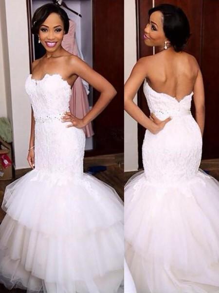 Trumpet/Mermaid Beading Tulle Sweetheart Sleeveless Sweep/Brush Train Wedding Dress