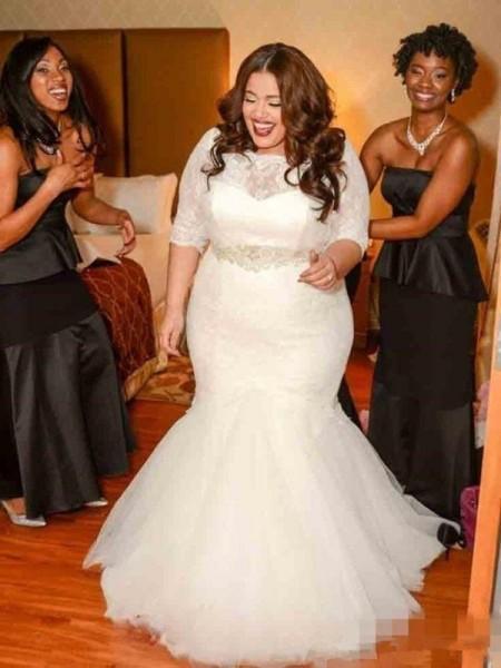Trumpet/Mermaid Lace Tulle 1/2 Sleeves Sweep/Brush Train Wedding Dress